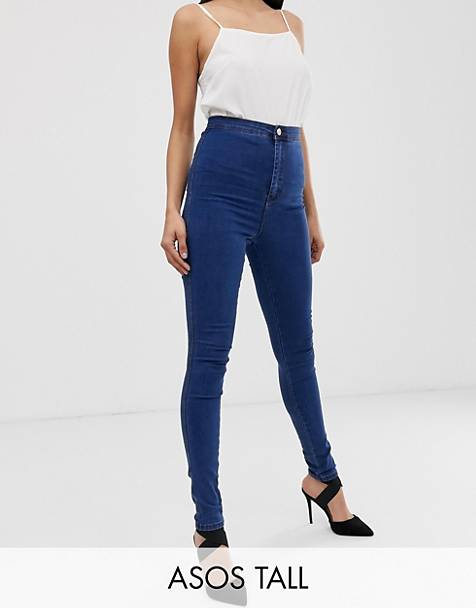 ASOS DESIGN Tall Rivington high waisted denim jeggings in flat mid wash blue