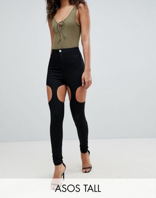 ASOS DESIGN Tall Rivington High Waisted Jeggings With Suspender Detail In Clean Black