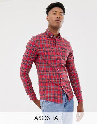 ASOS DESIGN – Tall – Röd skotskrutig skjorta med smal passform