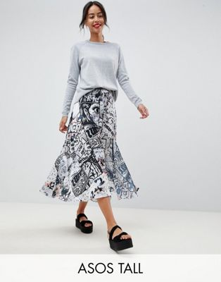 ASOS DESIGN Tall satin midi skirt in comic strip print