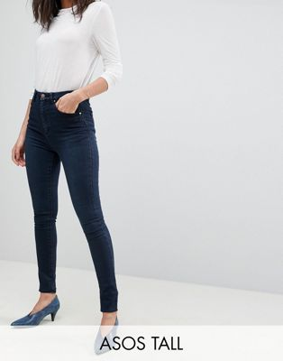 ASOS DESIGN Tall 'Sculpt me' high rise premium jeans in dark wash blue