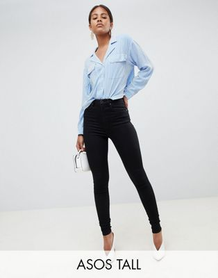 Image 1 of ASOS DESIGN Tall 'Sculpt me' high waisted premium jeans in clean black