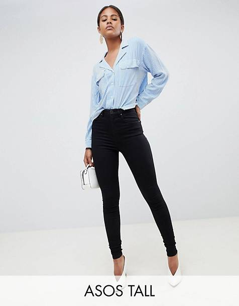 ASOS DESIGN Tall 'Sculpt me' high waisted premium jeans in clean black