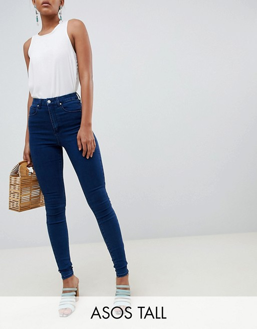 Image 1 of ASOS DESIGN Tall 'Sculpt me' high waisted premium jeans in flat blue