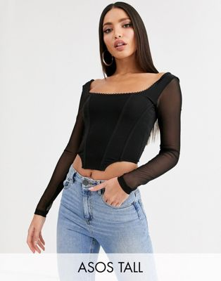 ASOS DESIGN Tall seamed corset top with trim and mesh long sleeves in black