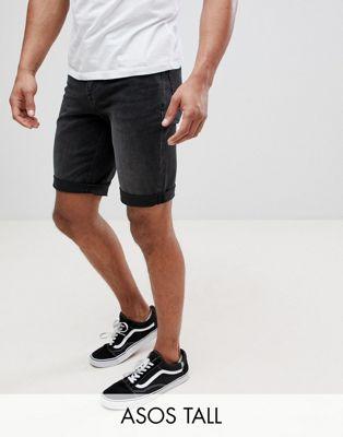 Image 1 sur ASOS DESIGN Tall - Short en jean coupe slim - Noir délavé