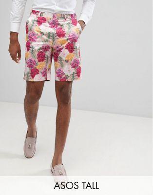 Image 1 sur ASOS DESIGN TALL - Short habillé slim à imprimé - Rose fleuri