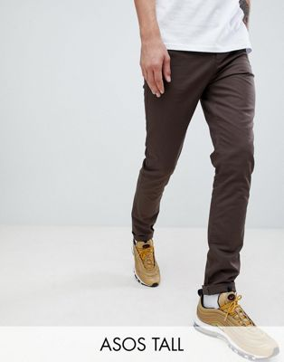 ASOS DESIGN Tall skinny chinos in dark brown