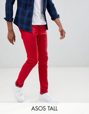 ASOS DESIGN Tall Skinny Chinos In Red