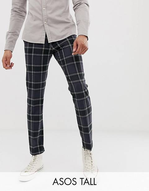 ASOS DESIGN Tall skinny crop smart pants in navy check with ticket pocket