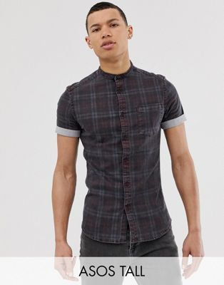 ASOS DESIGN Tall skinny denim check shirt in grey with grandad collar