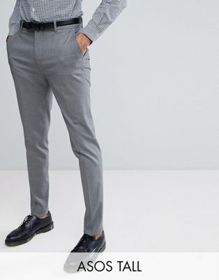 ASOS DESIGN Tall skinny smart trousers in grey