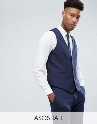 ASOS DESIGN Tall skinny suit vest in navy