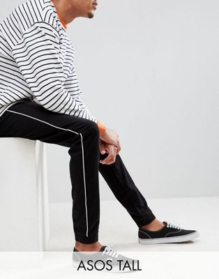 ASOS DESIGN Tall Skinny Woven Joggers In Black With White Piping