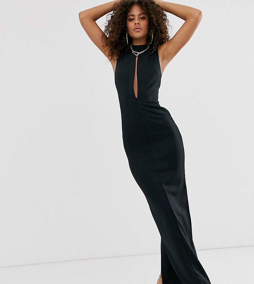 asos design tall slash front maxi dress-black