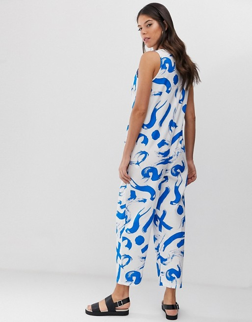 f8caf8c989 ASOS DESIGN Tall sleeveless button front boilersuit in paintbrush print