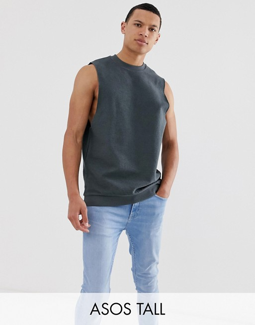 ASOS DESIGN Tall sleeveless sweatshirt with dropped arm hole in reverse loopback