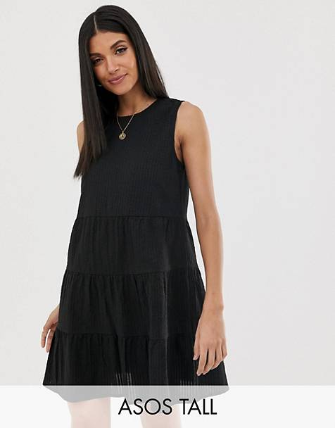 e4021124cf ASOS DESIGN Tall sleeveless tiered mini smock dress in seersucker