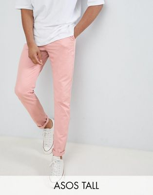 ASOS DESIGN Tall Slim Chinos In Pastel Pink