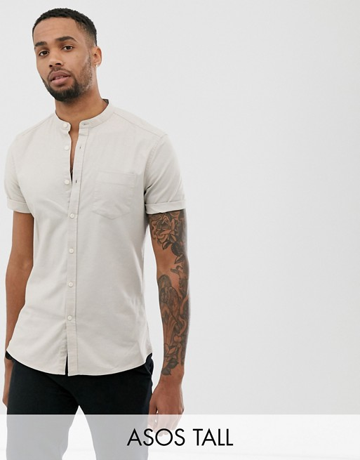 ASOS DESIGN Tall slim fit casual oxford shirt in ecru with grandad collar