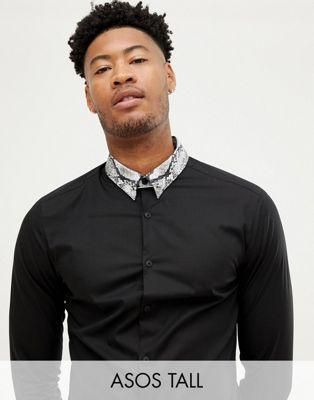 ASOS DESIGN Tall slim sateen shirt with snake print collar with collar bar