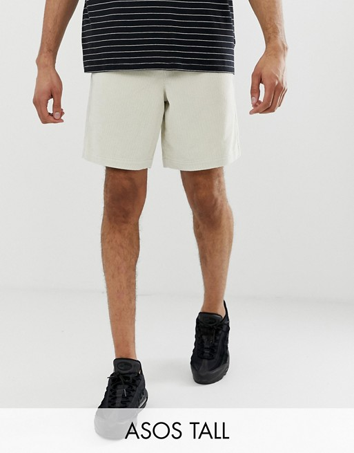 ASOS DESIGN Tall slim short shorts in beige cord