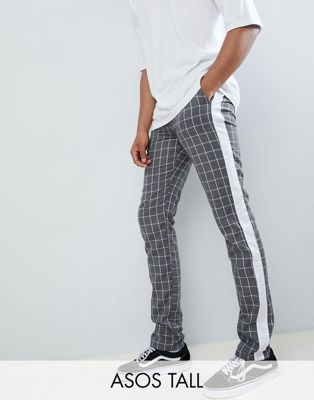 ASOS DESIGN Tall Slim Trousers In Grey Check With Side Stripe