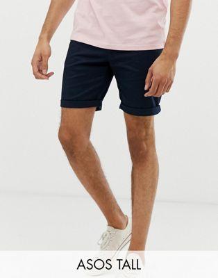 ASOS DESIGN Tall Smala marinblå chino shorts