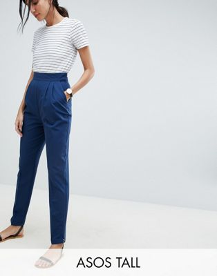 ASOS DESIGN - Tall - Smaltoelopende broek met hoge taille