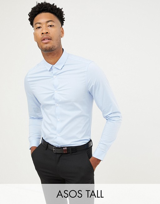 ASOS DESIGN Tall smart stretch slim fit work shirt in blue