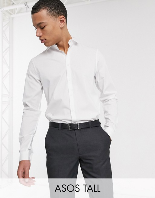 Design Tall Smart Stretch Slim Fit Work Shirt In White