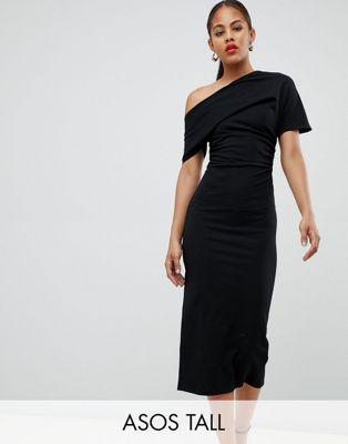 ASOS DESIGN – Tall – Snäv klänning med plisserad axel