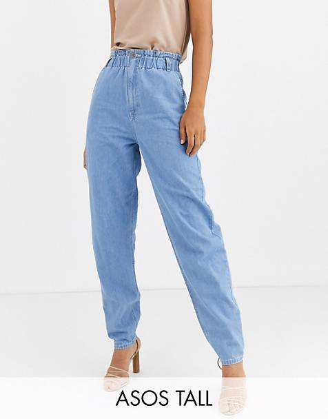 ASOS DESIGN Tall soft peg jeans in light vintage wash with elasticated cinched waist detail