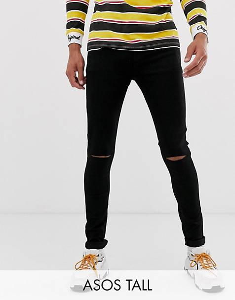 ASOS DESIGN Tall spray on jeans in power stretch denim in black with knee rip