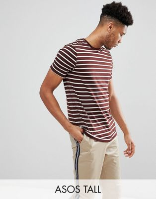 ASOS DESIGN Tall stripe t-shirt in burgundy and white