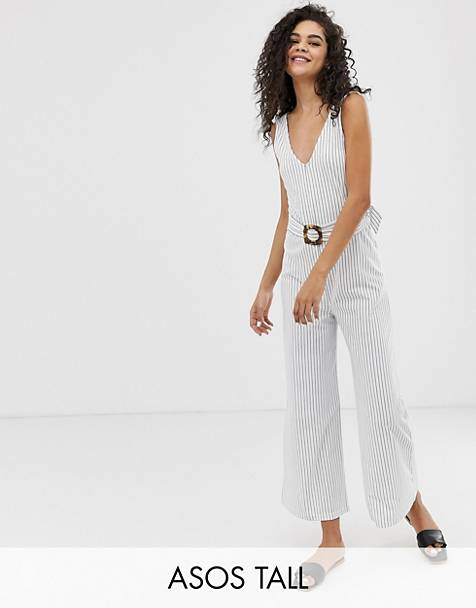 d17ffd83a8 ASOS DESIGN Tall stripe v neck jumpsuit with belt