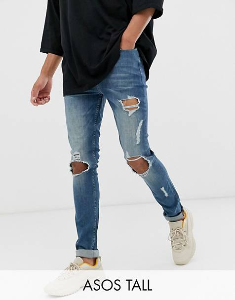 ASOS DESIGN Tall super skinny jeans in green cast blue with open rips