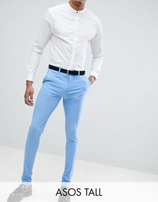 ASOS DESIGN Tall Super Skinny Suit Trousers In Provonce Blue