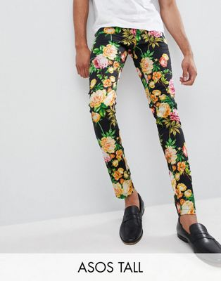 ASOS DESIGN Tall Super Skinny Trousers In Navy Floral Print