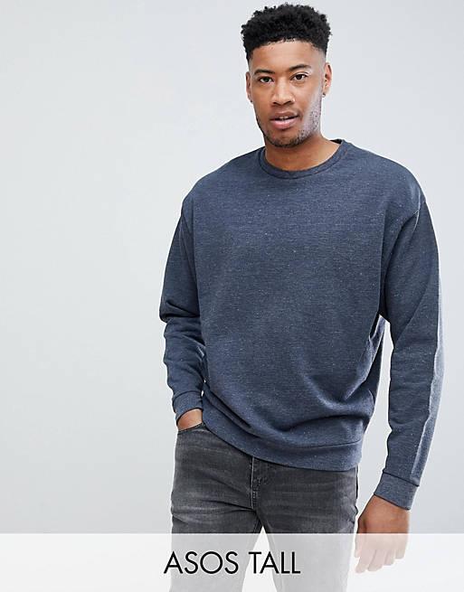 ASOS DESIGN Tall - Sweat-shirt oversize en tissu biologique travaillé avec double col - Bleu marine