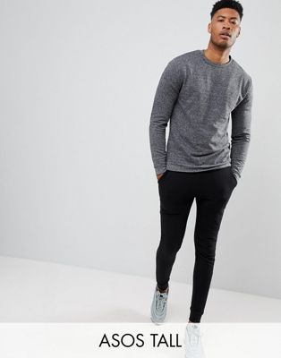 ASOS DESIGN tall sweatshirt in charcoal interest fabric