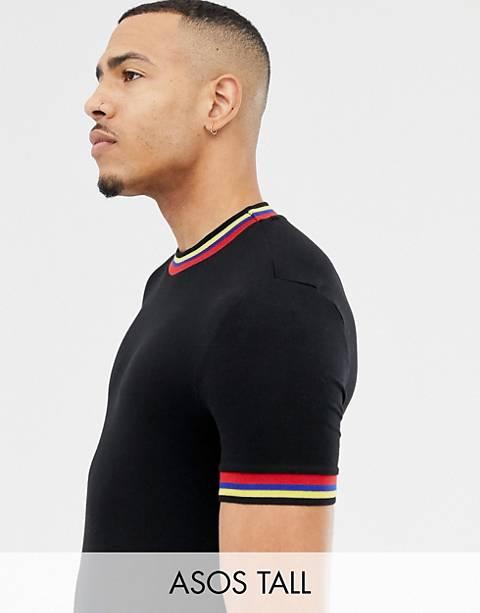 ASOS DESIGN Tall - T-shirt attillata nera con bordi arcobaleno