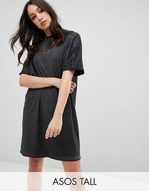 ASOS DESIGN Tall t-shirt dress with rolled sleeves and wash