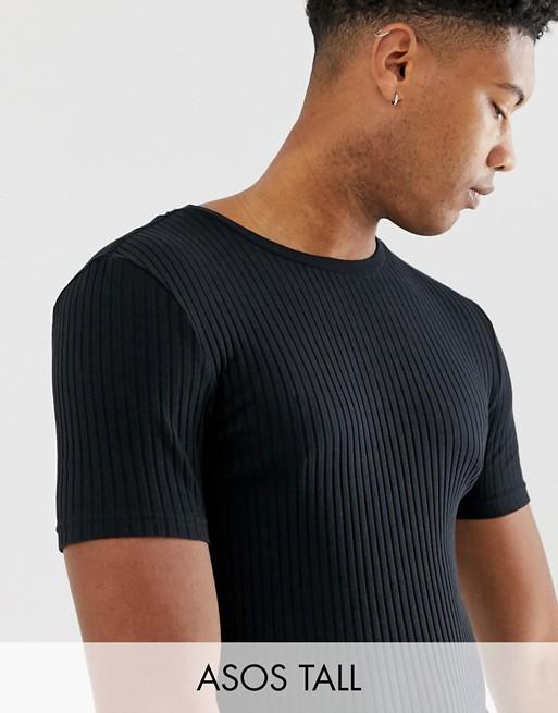 Immagine 1 di ASOS DESIGN Tall - T-shirt girocollo nera a coste