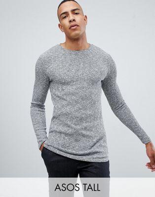 ASOS DESIGN Tall - T-shirt lunga e attillata a maniche lunghe con fondo arrotondato bordato in tessuto a coste