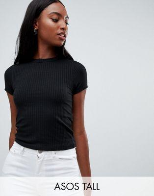 Immagine 1 di ASOS DESIGN Tall - T-shirt slim nera a coste