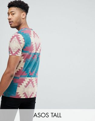 ASOS DESIGN Tall t-shirt with aztec print