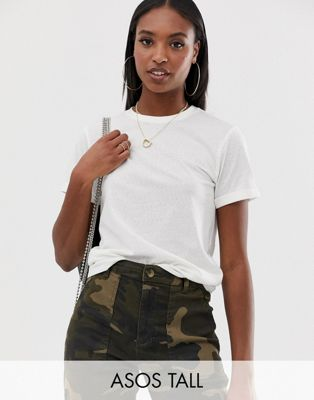 Image 1 of ASOS DESIGN Tall t-shirt with roll sleeve in linen mix in white