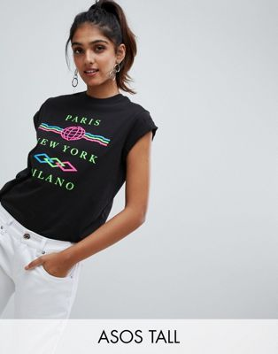 ASOS DESIGN Tall t-shirt with textured neon city print