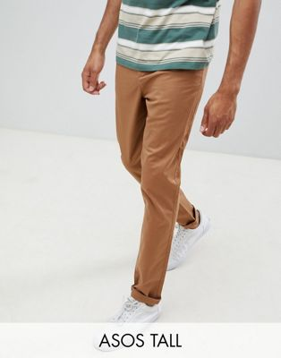 ASOS DESIGN Tall tapered chinos in camel